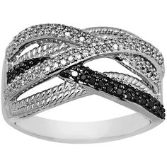 Lord & Taylor Black and White Diamond Ring in , 0.38 ct. t.w. ($450) ❤ liked on Polyvore featuring jewelry, rings, sterling silver, black white jewelry, black and white diamond ring, diamond jewellery, black white ring and diamond band ring