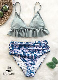 Walk barefoot across the sand wearing this bikini set. Product Code: Details: High-waisted fit Falbala design With padding bra Regular wash Fabric: spandex Reference: model try on SIZE M, height weight 150 lbs, bust SIZE(IN) US UNDERBUST WAIST HIP S M Bikini Sets, The Bikini, Push Up Bikini, Bikini Swimwear, Swimsuits, Women's Bikinis, Bikini Fitness, Bikini Workout, Bikini Set