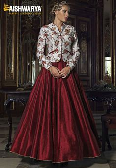 Floral printed jacket style lehenga choli in off white & maroon is now available online at: http://aishwaryadesignstudio.com/floral-printed-jacket-style-lehenga-choli-in-off-white-maroon