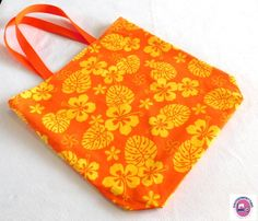 Orange and Yellow Tropical Print Reusable Totes by KnotSewKnitting