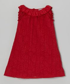 $27. Take a look at this Red Damask Ruffle Shift Dress - Toddler & Girls by Les Petits Soleils on #zulily today!
