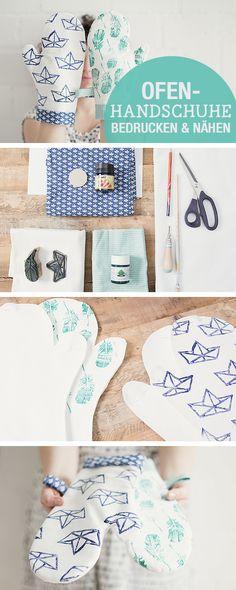 DIY-Nähanleitung für Ofenhandschuhe, Nähen für die Küche / sew your own cooking gloves, sewing ideas kitchen via DaWanda.com