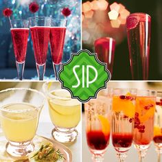 New Year's champagne cocktail recipes.