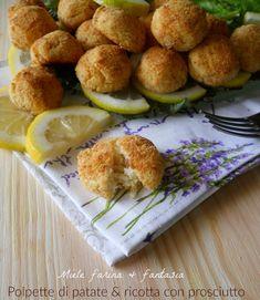 polpette di patate e ricotta con prosciutto
