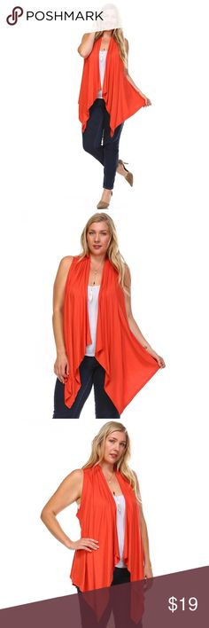 JUST IN Bright Orange Sleeveless Cardigan Vest  Perfect for Sunny Summers  ☀️ Wear it on top of any light color shirt  Throw on some Jeans and you are set  Long Front Open front  Cardigan / Duster  HACCI MATERIAL  Ships 1-2 business day, I AM A FAST SHIPPER  YES, these are the real pictures of the item  Sizes available in REGULAR and PLUS  BRAND NEW merchandise only  MADE IN USA!  Add it to bundle to save more  Sweaters Cardigans