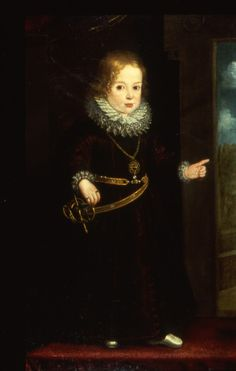 """""""Portrait of a Child #Prince"""" by an unknown Italian artist (1610) at the Walters Art Museum, Baltimore - From the curators' comments: """"The little boy is probably about three years old, young enough to still be wearing a dress, before graduating to long pants. He wears as well a child-sized rapier on his right side, which suggests that he not only from a noble family but is left-handed."""""""