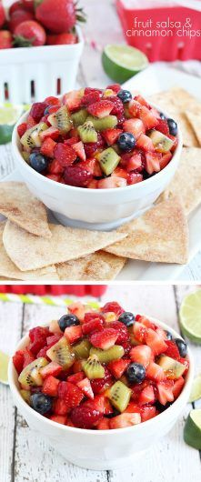 Fruit salsa and cinnamon chips -the perfect summer dessert or appetizer! Fresh, easy and delicious!