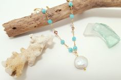Aqua crystal and freshwater coin pearl necklace | skinny pig designs