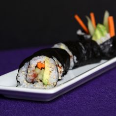 A Vegetable Sushi Roll With 2 Secret Ingredients - gamashio and umeboshi paste