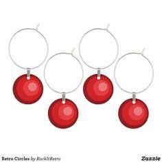 Retro Circles Wine Glass Charm