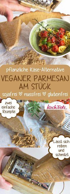 Zwei Rezepte für veganen Parmesan am Stück   sojafrei   nussfrei   glutenfrei   lässt sich reiben und schmilzt   Käse-Alternative #veganparmesan