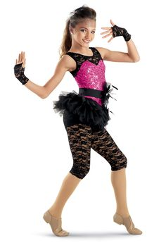 Lace Sequin Skirt Biketard -Weissman Costumes