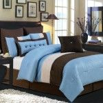 Valentino Oversized Blue Comforter Set, Blue and  Chocolate Brown #bedding #sets