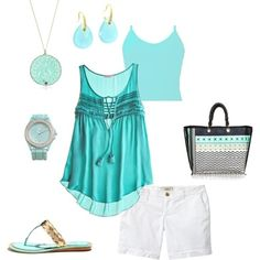 Summer Blues, created by jessica8725 on Polyvore - Click image to find more Womens Fashion Pinterest pins