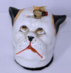 Antique Porcelain Dog Watching Fly on Head Tape Measure Figural Novelty RARE | eBay
