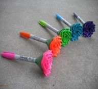 Duck tape flowers on sharpies. Such a cute idea! The markers last longer than putting it on pencils