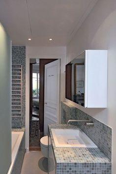 Armoire de toilette miroir pour les rangements - mosaique gris