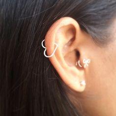 Handcrafted Sterling Silver Open Heart Helix Earring--cute!