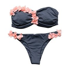 d532922ecc77a MOOSLOVER Women s Fashion Pink Flowers Bikini Set Cute 2 Pieces Padded  Off-Shoulder Swimsuit(M