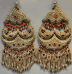 Pr of lavish silver gilt  Chapanis encrusted with turquoise coral beads and glass stone inlay, late 19th c Khiva Uzbekistan (Singkiang archives sold )