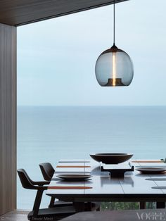 Detail of the dining room in the Fairhaven Beach House designed by John Wardle architects.