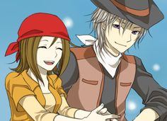 Vaughn and Chelsea from Harvest Moon IOH and SI. Even if Vaughn is jerk, I'm glad I took the time to seduce him anyway.