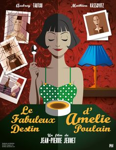 I wanted to design a poster in French. Amelie Queria hacer un poster en frances. Audrey Tautou, Amelie, Horror Movie Posters, Film Posters, Picture Boxes, Harry Potter, Disney Characters, Fictional Characters, Good Movies