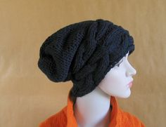 Chunky Slouchy Women Hat Beanie Knit Beret by recyclingroom