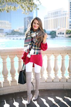 oversized red sweater, plaid scarf, white pants, OTK boots