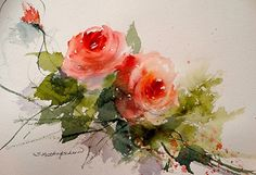 Draw Roses December Roses by Sandy Strohschein Watercolor ~ 10 x 13 Watercolor Pictures, Watercolor Artists, Watercolor Rose, Watercolor Artwork, Watercolor Cards, Watercolor Landscape, Watercolor Illustration, Simple Watercolor, Tattoo Watercolor
