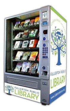 """Similar to a vending machine, a book is selected using a keypad and then dispensed through the swinging door at the bottom of the machine. A receipt indicating the due date is also provided. A convenient return bin is located next to the machine, allowing for easy return as you make your way to catch Metrolink, Amtrak, an OCTA bus, or visit one of the many restaurants or other entertainment establishments in Downtown Fullerton."" --The Fullerton Public Library"