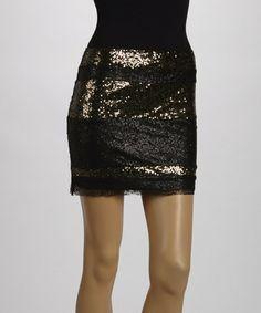 Another great find on #zulily! Black & Gold Sequin Stripe Mini Skirt #zulilyfinds