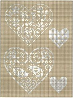Hearts with flowers or paisley design. Free sewing pattern graph for cross stitch or plastic canvas.