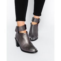 Miista Odele Cut Out Leather Mid Heeled Ankle Boots ($223) ❤ liked on Polyvore