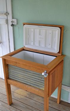 Transform a simple cooler into a 'cool' (pun intended) stand. -- Patio Cooler Stand: Eddie and Steph.