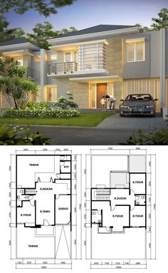 denah dan tampak rumah sederhana minimalis tipe rumah 90
