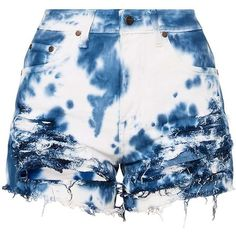 a4c89fa1d3 Anaiya Blue Tie Dye Denim Distress Denim Short ($32) ❤ liked on Polyvore  featuring shorts, blue short shorts, blue shorts, tie dye denim shorts, ...