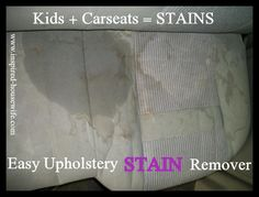 Inspired-Housewife:  Easy Upholstery Stain Remover (1 cup dawn dish soap, 1 cup white vinegar, 1 cup club soda) Scrub away!