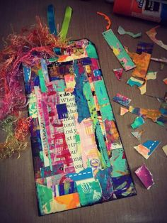 Diane's Mixed Media Art -  Giant tag made with scraps she saved. Good ideas...