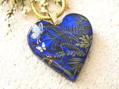 Butterfly Garden Necklace, Dichroic Glass Necklace, Fused Glass Jewelry, Blue Necklace, Fused Glass Jewelry, Gold Necklace, 042815p106 by ccvalenzo on Etsy