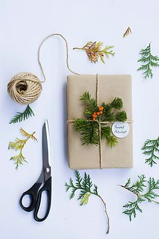 Add greenery to gift wrap.