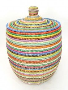 Multicolored African Basket | Hand woven in Senegal (on Mbare.com
