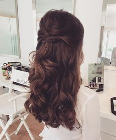 FAV // Half down! Congratulations to you beautiful x # wedding hair # help - FAV // Half down! Congratulations to you beautiful x # wedding hair # help - Wedding Hair Half, Wedding Hair Brunette, Hairstyle Wedding, Bridesmaid Hair Brunette, Brunette Hair, Hair Styles Brunette, Wedding Curls, Headpiece Wedding, Wedding Hairstyles For Long Hair