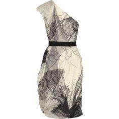 Lela Rose One-shoulder silk-blend organza dress. GORGEOUS print!