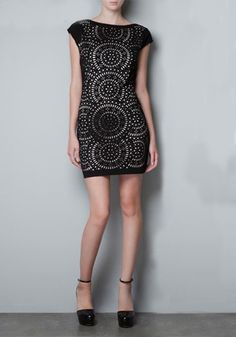 Love...Love...Love this Black Geometric Hollow-out Lining Mini Sleeve Polyester Dress #LBD #Fashion