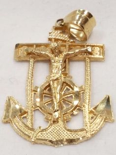 14KT Anchor and Jesus on Cross Pendant