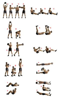 10 exercises 20 reps each. (1) Big Circles (2) Woodchopper (3) Standing Russian Twist (4) Squat to Press (5) Sit up (6) Rock Solo - put ball down on one side and pick up on the other side (7) Toe Touch (8) 45 degree twist (9) Suitcase Crunch (10) Diagonal Crunch More