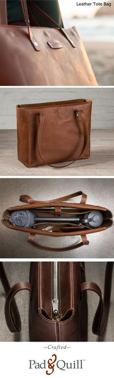 """www.PadandQuill.com Meet the Leather Tote Bag. Crafted for today's tech lifestyle with ample room for up to a 15"""" Macbook, iPad, chargers and accessories, and more. A special zippered pocket keeps your loose items safe. Ever health conscious, the tote also boasts a leather, snap-closed loop to hold your water bottle (or wine depending on the day) and ample room for all of your daily needs. Perfect from the board room to the beach."""