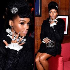 Janelle Monae strikes a pose wearing Yoko London's South Sea Pearl and Diamond ring at the I Love COCO Beauty Lounge at Chateau Marmont.