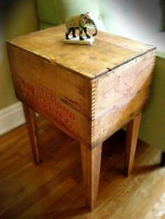 Side table made from vintage shipping crates...
